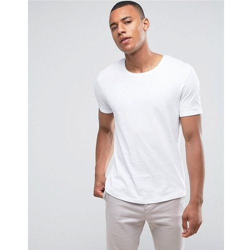 Esprit Longline T-Shirt With Roll Sleeve In White - White, kolor biały