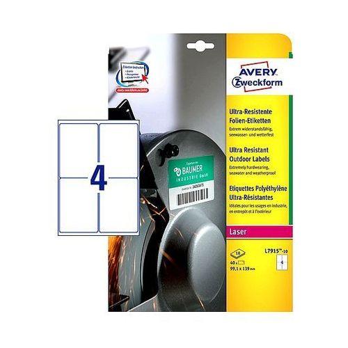 Etykiety Avery Ultra Resistant 99,1x139mm polietylenowe białe L7915-10, 10ark. A4