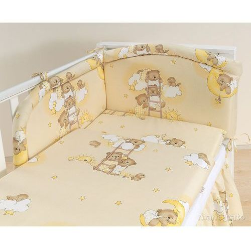 Mamo-tato  pościel 2-el drabinki z misiami na kremowym tle do łóżeczka 70x140cm