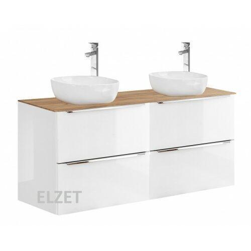 COMAD szafka Capri White 2x60 2S biały połysk/dąb craft złoty pod 2 umywalki nablatowe + blat 120 dąb CAPRI WHITE 2x820 + CAPRI OAK 892, kolor dąb