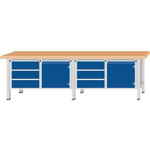 Anke werkbänke - anton kessel Stół warsztatowy, bardzo szeroki,2 drzwi, 6 szuflad z częściowym wysunięciem