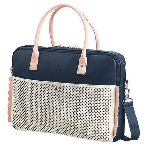 "American Tourister Luna Pop damska torebka na ramię na laptopa 15,6"" / granatowa - Dark Navy/Light Pink, kolor niebieski"