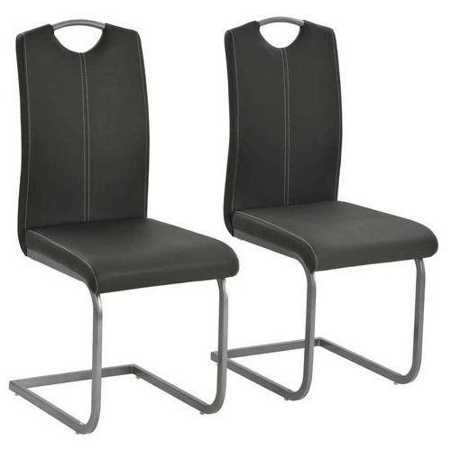 Krzesła do jadalni, 2 szt., sztuczna skóra, 43x55x100 cm, szare, kolor szary