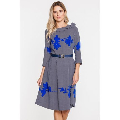 Wizytowa sukienka z aplikacją w niebieskie kwiaty - Margo Collection, 1 rozmiar