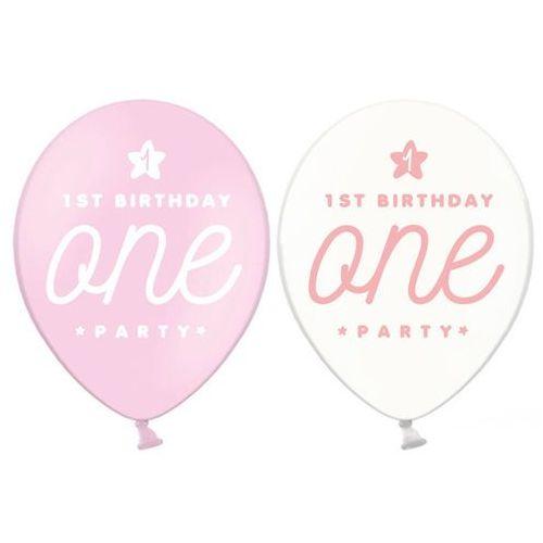 Balon z nadrukiem dla dziewczynki 1st birthday one party - 30 cm - 50 szt. marki Party deco