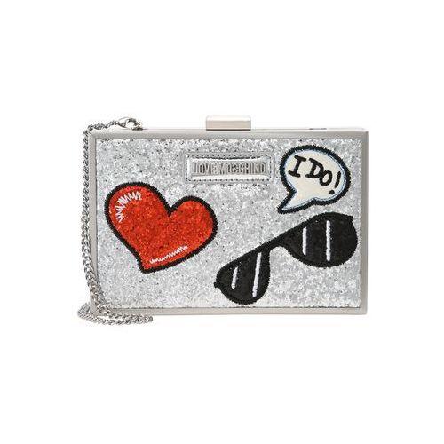 Love Moschino GLITTER PATCHES BOXBAG Kopertówka argento (8050537861140)