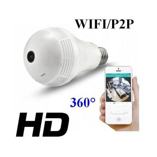 Mini-Kamera WIFI/P2P HD, Ukryta w Żarówce (zasięg cały świat!!) + Dźwięk + Zapis + Zoom...
