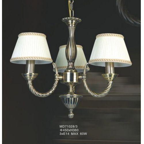 Żyrandol LAMPA wisząca FRATI MD71028/3 Italux klasyczna OPRAWA abażurowa biała złota, MD71028/3