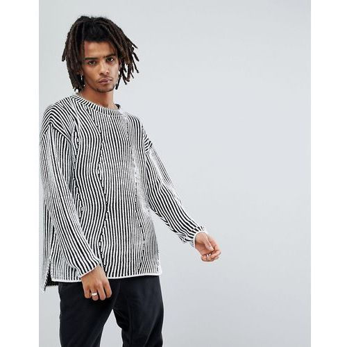 New look jumper with knitted detail in black and white - black