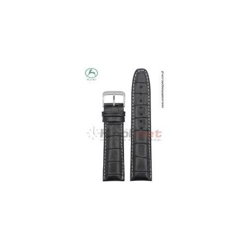 Pasek do zegarka Kuki K_308B.KR_B/20L - czarny, imitacja krokodyla, long, kolor czarny