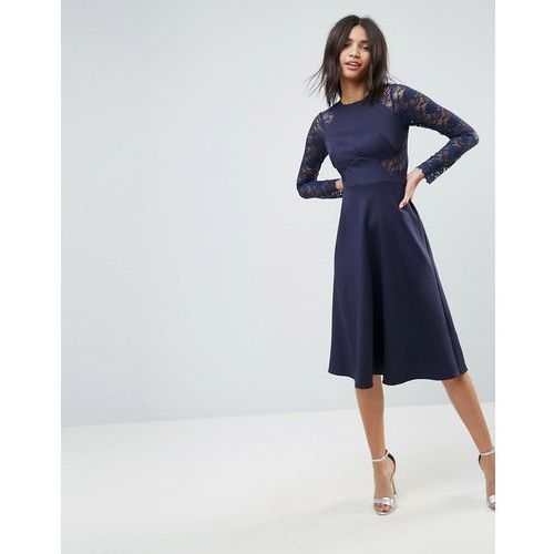 premium midi scuba skater dress with lace sleeves - navy marki Asos
