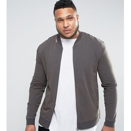ASOS PLUS Muscle Fit Jersey Bomber Jacket With Distressing In Black - Black, kolor czarny