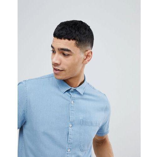 denim shirt in regular fit in light blue wash - blue marki New look