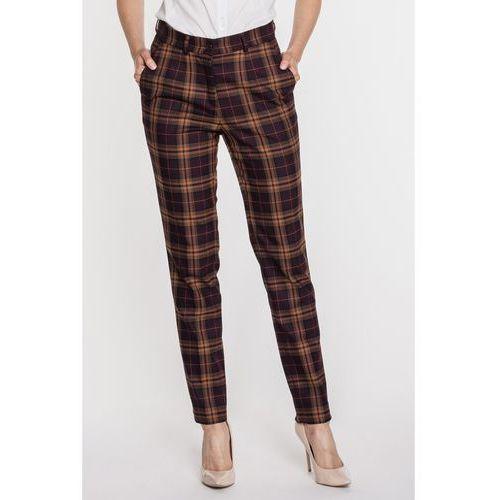 Eleganckie spodnie w ciemną kratę -  marki Bialcon