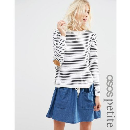 jumper in stripe with oval tan suedette elbow patch - multi marki Asos petite