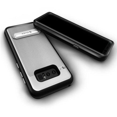 Zizo Click Case - Etui Samsung Galaxy Note 8 (2017) z ukrytą kieszenią na karty + podstawka & szkło 9H na ekran (Silver/Black), 1PHS-SAMGN8-SLBK