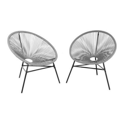 Zestaw 2 krzeseł ogrodowych jasnoszare ACAPULCO