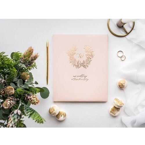 Ap Księga gości weselnych wianuszek pudrowy róż - 22 kartki