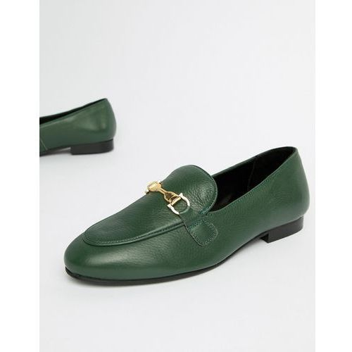 River Island leather loafers in green - Green