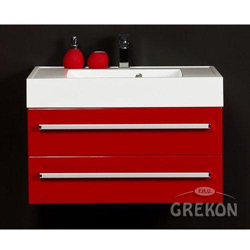 Czerwona szafka wisząca z umywalką 80/50/2 seria Fokus CZ, kolor czerwony