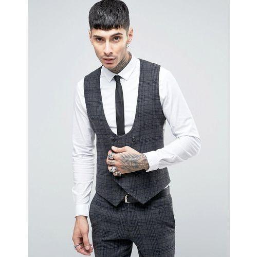 super skinny db waistcoat in brushed check - grey od producenta Noose & monkey