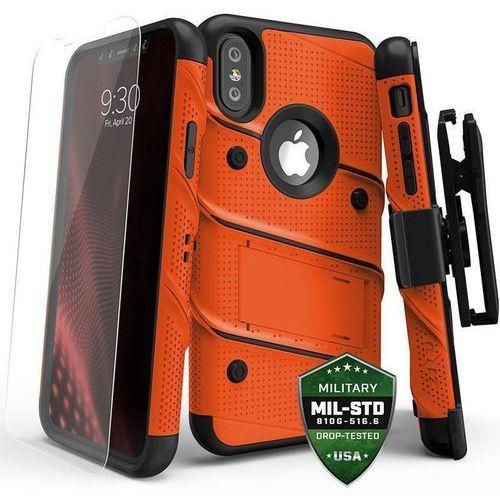 Zizo bolt cover etui pancerne iphone x (orange/black) + szkło hartowane na ekran