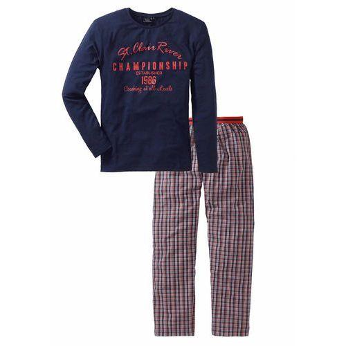 Bonprix Piżama ze spodniami z tkaniny  niebiesko-biało-pomarańczowy wzorzysty