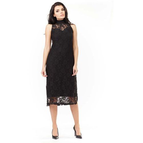 Sukienka z czarnej koronki ze stójką marki Awama