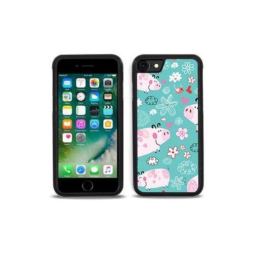 Apple iphone 7 - etui na telefon aluminum fantastic - różowe świnki marki Etuo aluminum fantastic