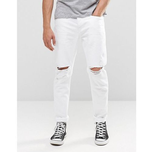 River Island Slim Tapered Fit Jeans In White With Rips - White