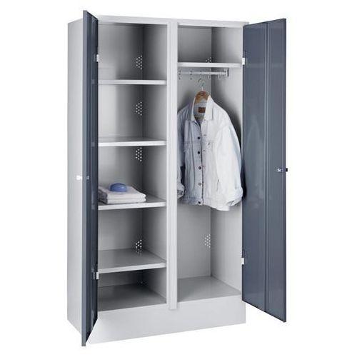 Szafa stalowa, szafka magazynowa, szeroka, z cokołem, drzwi niebiesko-szare, ral marki Eugen wolf
