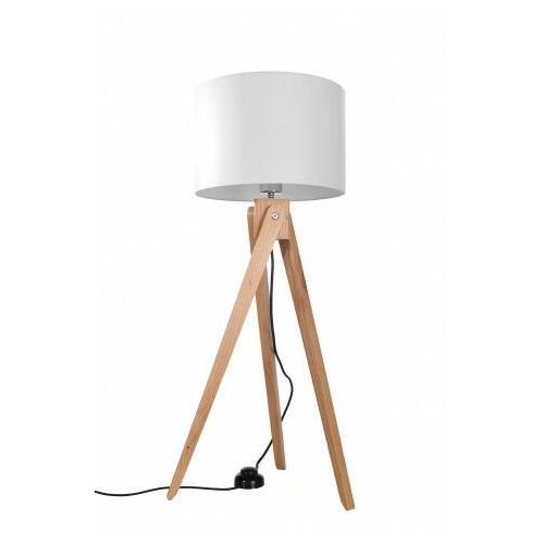 Drewniana lampa podłogowa z abażurem - ex574-legni marki Lumes