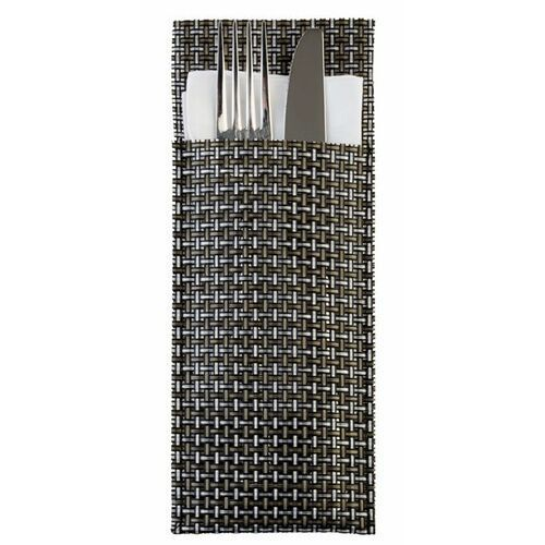 Aps Etui na sztućce | zestaw 6 sztuk | srebrnoszare | 240x90mm