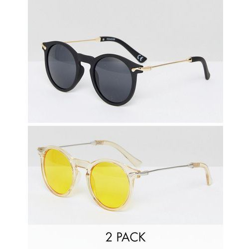 2 pack round sunglasses with metal arms in yellow lens & black lens - multi marki Asos