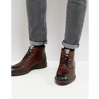 River island leather chukka boots in dark brown - brown