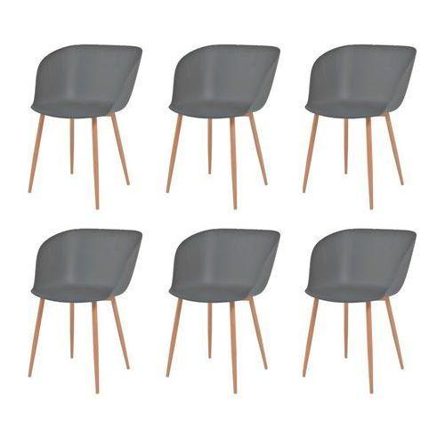 Komplet 6 krzeseł, szare, plastikowe siedziska i stalowe nogi