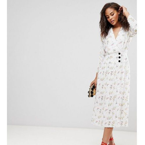 ASOS DESIGN Tall pleated midi dress with side buttons in ditsy floral - Multi