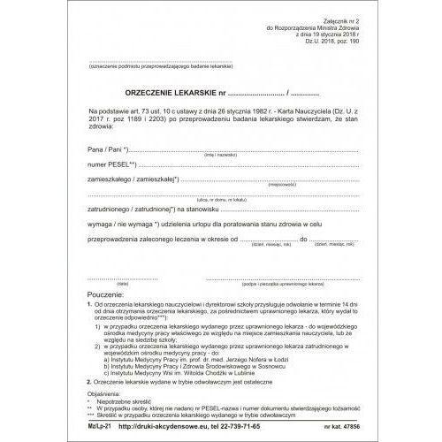 Orzeczenie lekarskie dla poratowania zdrowia [Mz/Lp-21], 47856