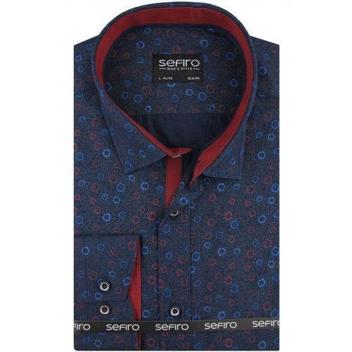 Duża koszula męska granatowa we wzory na spinki lub guzik duże rozmiary a128 marki Sefiro
