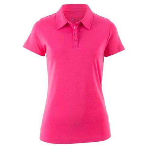 Shirt polo z krótkim rękawem ciemnoróżowy marki Bonprix