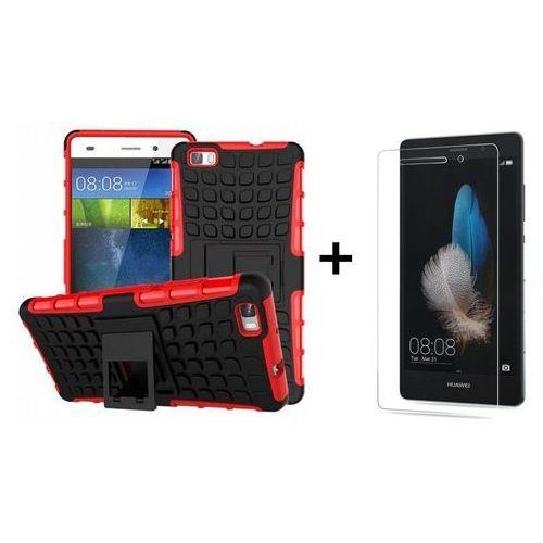 Zestaw Pancerna obudowa etui Perfect Armor Czerwona + Szkło hartowane Perfect Glass Huawei P8 Lite, kolor czerwony