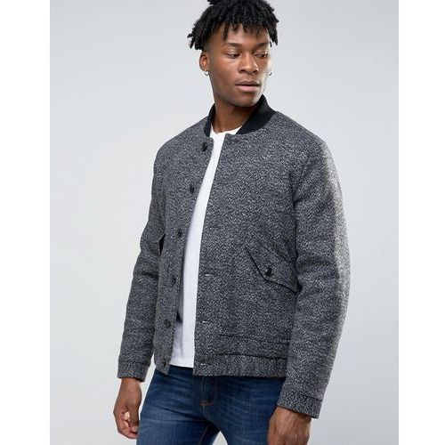 wool mix bomber jacket with borg lining in salt and pepper - black marki Asos