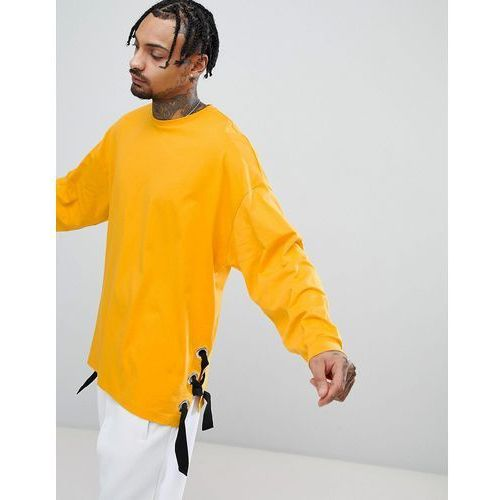 ASOS Oversized Long Sleeve T-Shirt With Chunky Eyelet Seam Detail In Yellow - Yellow, kolor żółty