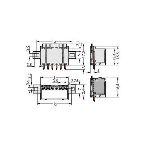 Obudowa męska na PCB WAGO 2091-1410/205-000, Ilośc pinów 10, Raster: 3.50 mm, 100 szt. (4050821412106)