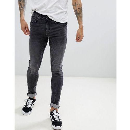 skinny jeans in grey acid wash - black, New look
