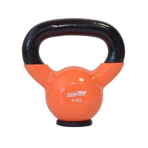 Stayer-sport Kettlebell żeliwno-winylowy z gumową podstawą stayer sport 4 kg - 4 kg