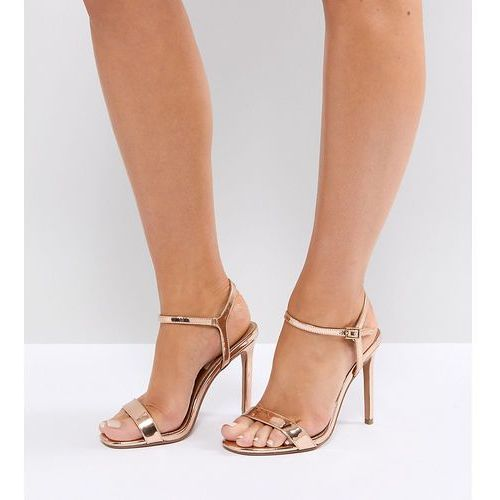 ASOS DESIGN Wide Fit Hands Down barely there heeled sandals - Gold