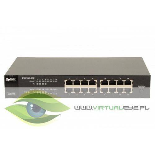 ES1100-16P 16 x 10/100 wewn. zasilacz, desktop, metalowa obudowa, 8 x PoE