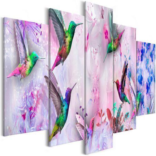 Artgeist Obraz - kolorowe kolibry (5-częściowy) szeroki fioletowy