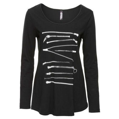 Bonprix Shirt z długim rękawem  czarny z nadrukiem